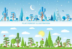 Flat vector tree illustration, forest Stock Images
