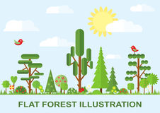 Flat vector tree illustration, spring Stock Image