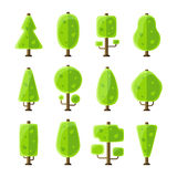 Flat vector trees set in flat style Royalty Free Stock Image