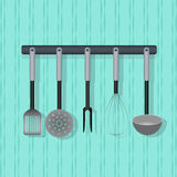 Flat vector utensil, kitchenware on the wall. Stock Photography