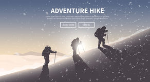 Flat vector web banner. Hiking. Royalty Free Stock Photo