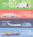 Flat vector web banner. Logistics. part 1 Stock Images