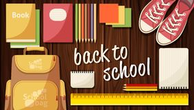 Flat vector web banner on the school,  utensils,  books. Back to . Notebooks  backpack. Objects placed  the wooden. Flat vector web banner on the school, school Royalty Free Stock Photos