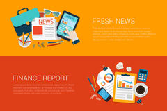 Flat vector web banners collage fresh news online finance report Royalty Free Stock Photos