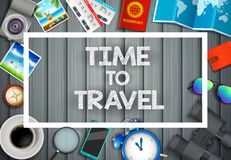 Flat vector web banners set on the theme of travel , vacation, adventure. Preparing for your journey. Outfit of modern traveler. O stock illustration