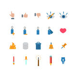 Flat vector web mobile app icon: like dislike touch label heart. Flat style creative modern mobile web app concept icon set. Like dislike touch eye label heart Stock Photo