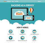 Flat vector website template with mobile gadgets stock illustration
