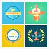 Flat vector winner emblems Stock Photography