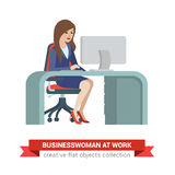Flat vector woman at workplace: businesswoman, boss, secretary Stock Photography