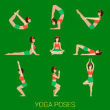 Flat vector yoga and pilates poses Stock Images