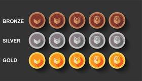 Flat vectors set game rank illustration design. Bronze, silver and golden medal award stock illustration