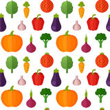 Flat vegetables seamless pattern Stock Images