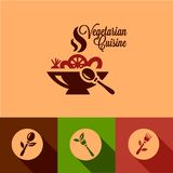 Flat vegetarian cuisine icons set Stock Photos