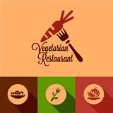 Flat vegetarian restaurant icons Royalty Free Stock Photography
