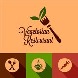 Flat vegetarian restaurant icons set Stock Image