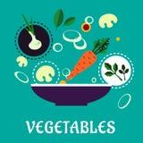 Flat vegetarian salad with fresh vegetables Royalty Free Stock Image