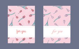 Flat vertical packaging or postcard design template with hand drawn tulips. royalty free illustration