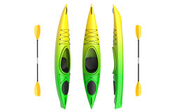 Flat vertical views of yellow green crossover kayak with paddle. Whitewater and river running kayak. 3D render, isolated Stock Image