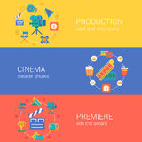 Flat video movie production cinema design icons set Stock Photography