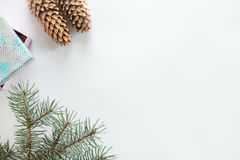 Flat view of Christmas decoration, copyspace Royalty Free Stock Images