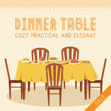 Flat vintage dinner table with many food Stock Photos