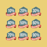 Flat Vintage Discount Badges. Flat vintage classic discount shopping badges Stock Photo