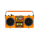 Flat vintage orange tape recorder Royalty Free Stock Image