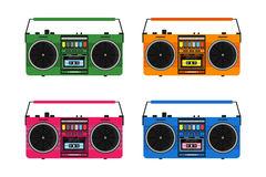 Flat vintage tape recorders set Stock Photo
