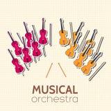 Flat violin guitar vector background concept Stock Image