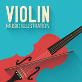 Flat violin guitar vector background concept Stock Photos
