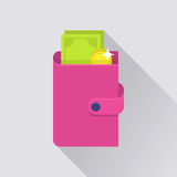 Flat wallet icon Royalty Free Stock Image