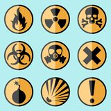 Flat warning signs labels. Flat style warning signs labels icons on a background Stock Photography