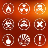 Flat warning signs labels. Flat style warning signs labels icons on a background Royalty Free Stock Images