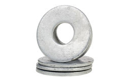 Flat Washer. Flat metal washers isolated on a white background Royalty Free Stock Images