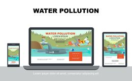 Flat Water Pollution Adaptive Design Concept. With industrial waste in pond and garbage on coast on laptop mobile tablet screens isolated vector illustration vector illustration