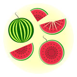 Flat  watermelon set. Full fruit and split in a half, quater, sliced on pieces. Cute colorful summer fruit Stock Photo