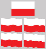 Flat and Waving Flag of Poland Royalty Free Stock Photos