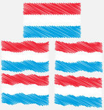 Flat and Waving Hand Draw Sketch Flag of Luxembourg Stock Photo