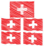 Flat and Waving Hand Draw Sketch Flag of Switzerland Royalty Free Stock Images