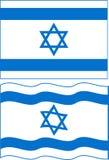 Flat and waving Israeli Flag. Vector Royalty Free Stock Image