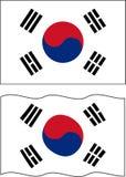 Flat and waving South Korea Flag. Vector Stock Image