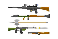 Flat weapons vector. Royalty Free Stock Photography