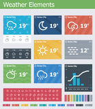 Flat weather app UI elements Stock Photos