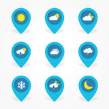 Flat Weather cloud icons set in pointer Royalty Free Stock Image