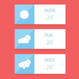 Flat Weather forecast app design template Royalty Free Stock Photos