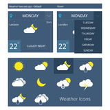 Flat weather forecast app Royalty Free Stock Image