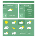 Flat weather forecast app Royalty Free Stock Photography
