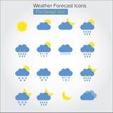 Flat Weather Forecast Icons Royalty Free Stock Images