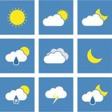 Flat Weather Forecast Icons Royalty Free Stock Image