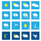 Flat weather icon set of 16. In white Vector Illustration